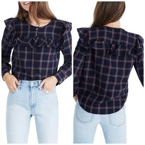 Madewell Plaid Ruffle Yoke Top Sz Small